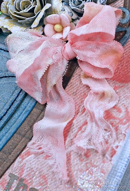 Grungy Wrinkled Ribbon Tutorial for Really Reasonable Ribbon by Tracey Sabella plus Bitty Blossom flower tuto