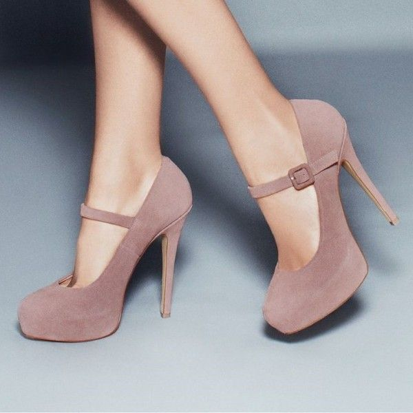 Blush Mary Jane Pumps Closed Toe Suede Platform High Heels Shoes