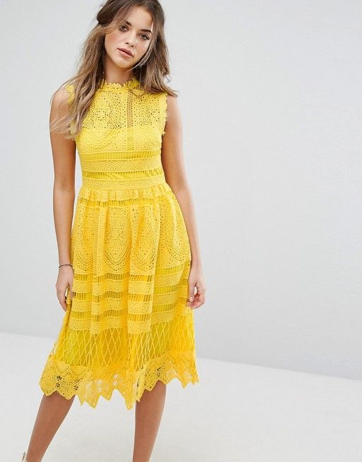 Boohoo Lace Skater Dress in Yellow