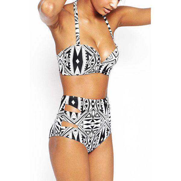Yoins Totem Print High Waist Lace-up Bikini Set ($14) ❤ liked on Polyvore featuring swimwear, bikinis, black, tops swimwears bikinis, high rise bikini swimwear, summer bikini, high waisted bikini, high-waisted swimwear and cut-out swimwear