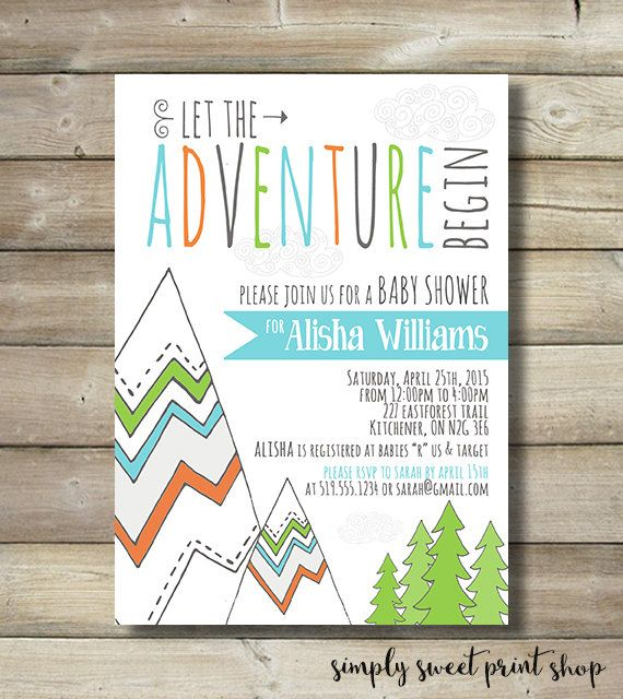 Adventure Baby Shower Invite Invitation Boy Mountain Trees Tribal Camping Blue Navy Green Orange Nature Hike Cloud Let The Adventure Begin