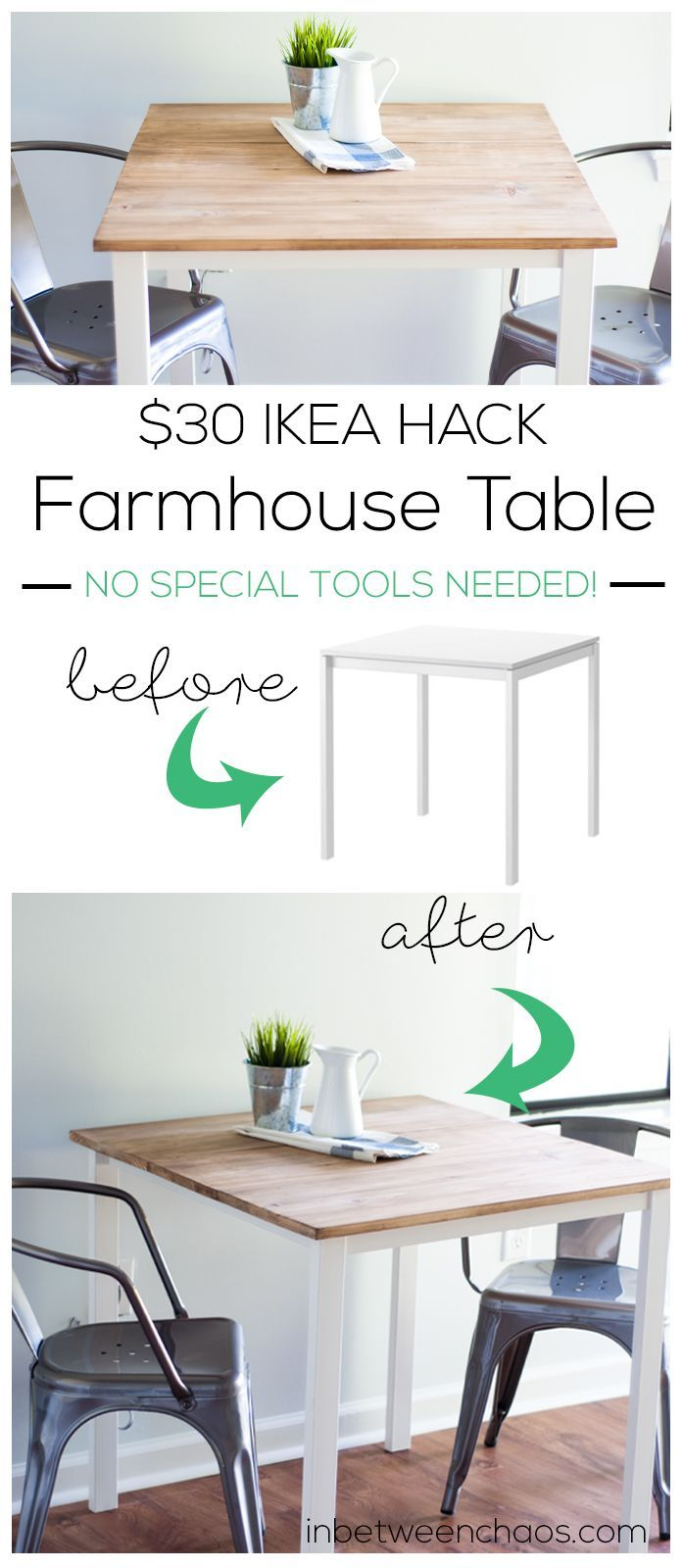 $30 IKEA Farmhouse Table Hack | http://inbetweenchaos.com
