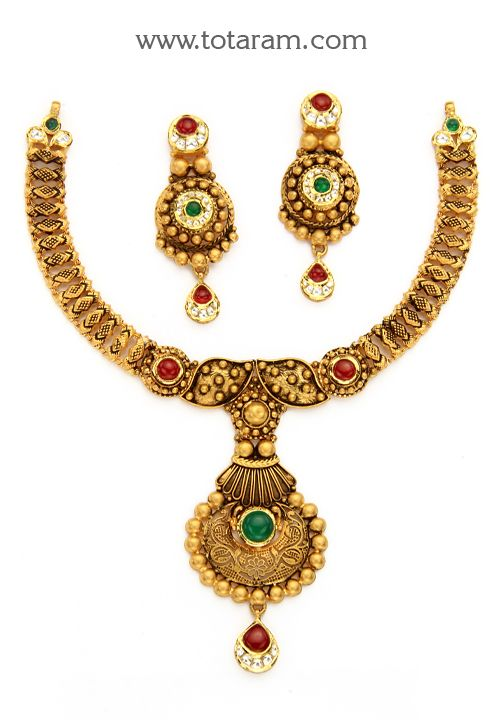 22K Gold  Antique Necklace & Ear Hangings Set with Stones