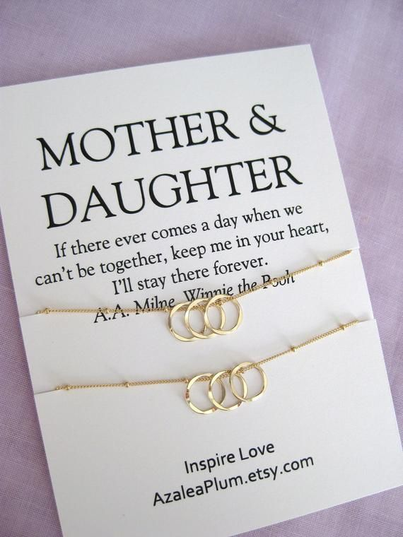 Mother Daughter Necklace Mom Gift Birthday Gold Circle MOTHER Gifts For Her