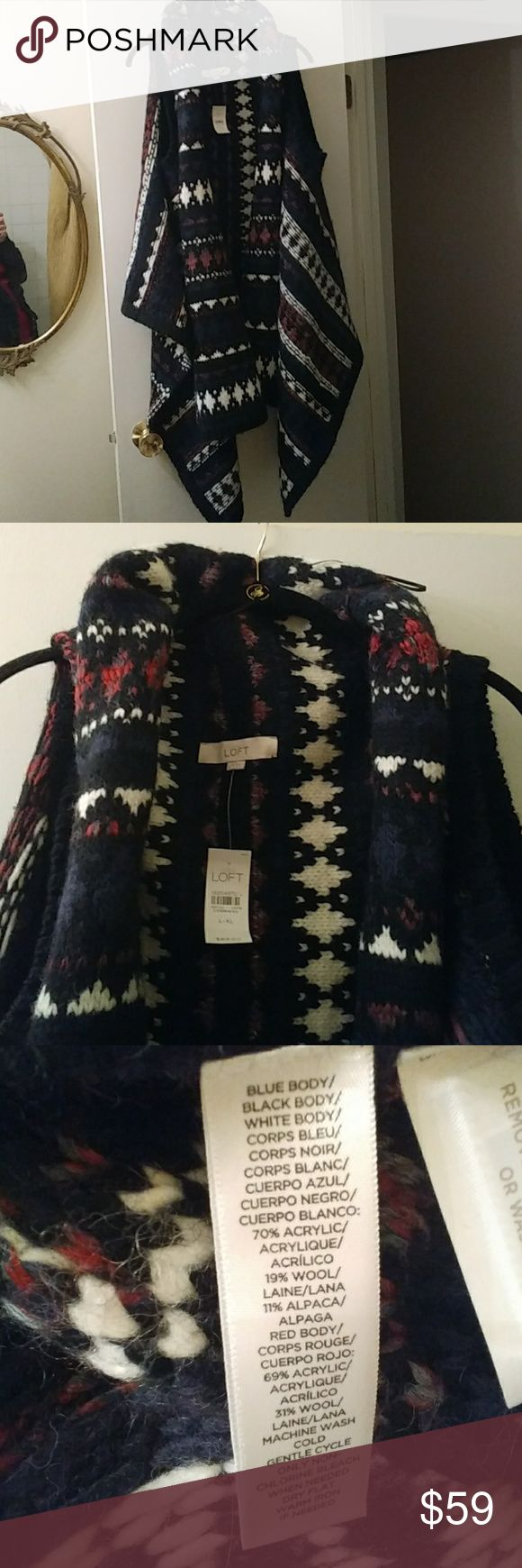 Beautiful vest New with tags was a Christmas gift its do pretty but I have something else that's too simulator is warm no buttons just lays so pretty when on multi color large / Extra large should fit most Ann Taylor Sweaters Shrugs & Ponchos
