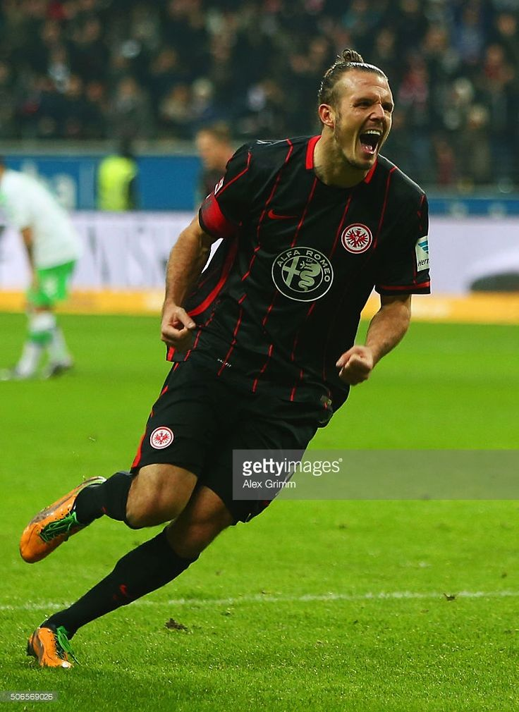 Alexander Meier of Eintracht Frankfurt celebrates as he scores their second goal during the Bundesliga match between Eintracht Frankfurt and VfL Wolfsburg at Commerzbank-Arena on January 24, 2016 in Frankfurt am Main, Germany.