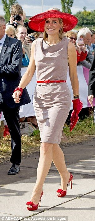 Queen Máxima of the Netherlands, 44, also wore a taupe dress today...