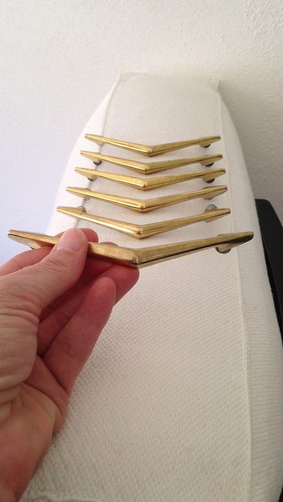 Mid Century Kitchen Hardware / Drawer Pulls in Gold by MayaVintage