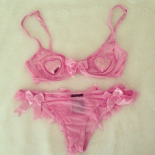 Pink heart pasties bra & underwear set