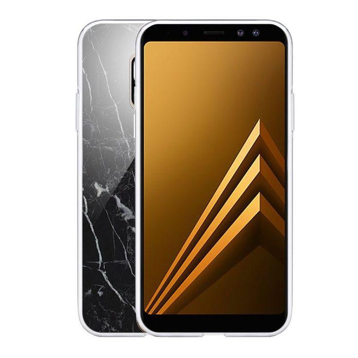 Coque Souple Samsung Galaxy A8 2018 Souple Marbre Noir Motif Ecriture Tendance Evetane – Taille : Taille Unique