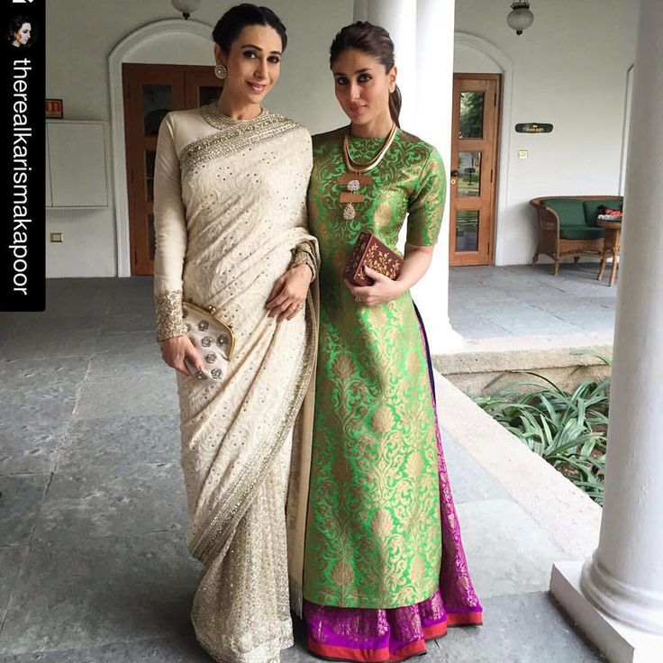 Cannot get enough of these fashionistas. #Love the gorgeous styles, colors and fabrics: stunning white and #gold #saree and beautiful green #gold and #pink trendy kameez. #festivaloflights #indianweddingsmag  #Repost @therealkarismakapoor ・・・ Sister Support#19thinternationalchildrensfilmfestival#support#forthechildren#family#moments#hyderabad
