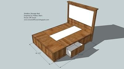 DIY Queen size storage bed...  Includes cutting plans & directions for frame - can use baskets or make drawers for the six storage compartments.