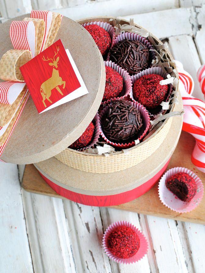 chocolate raspberry liqueuer and rum truffles