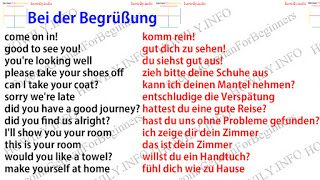 Bei der Begrüßung auf Deutsch. Gäste zu Hause. Welcoming in German. Guests at home. come on in! komm rein! good to see you! gut dich zu sehen! you're looking well du siehst gut aus! please take your shoes off zieh bitte deine Schuhe aus can I take your coat? kann ich deinen Mantel nehmen? sorry we're late entschludige die Verspätung did you have a good journey? hattest du eine gute Reise? did you find us alright? hast du uns ohne Probleme gefunden? I'll show you your room ich zeig...