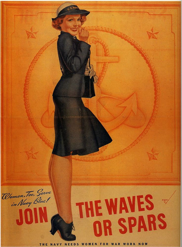 U.S Navy WWII propaganda poster by George Petty encouraging women to join the WAVES or the SPARS