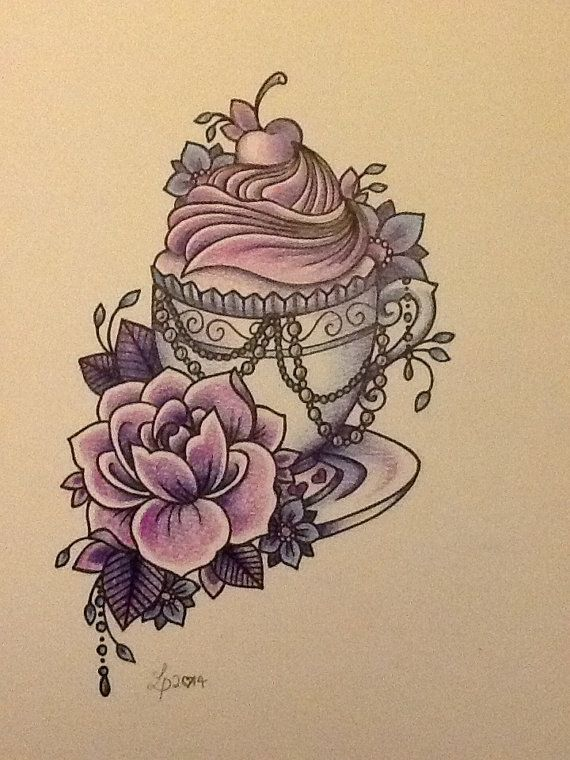 Vintage teacup print by libby firefly by Libbyfireflyart on Etsy, £7.00
