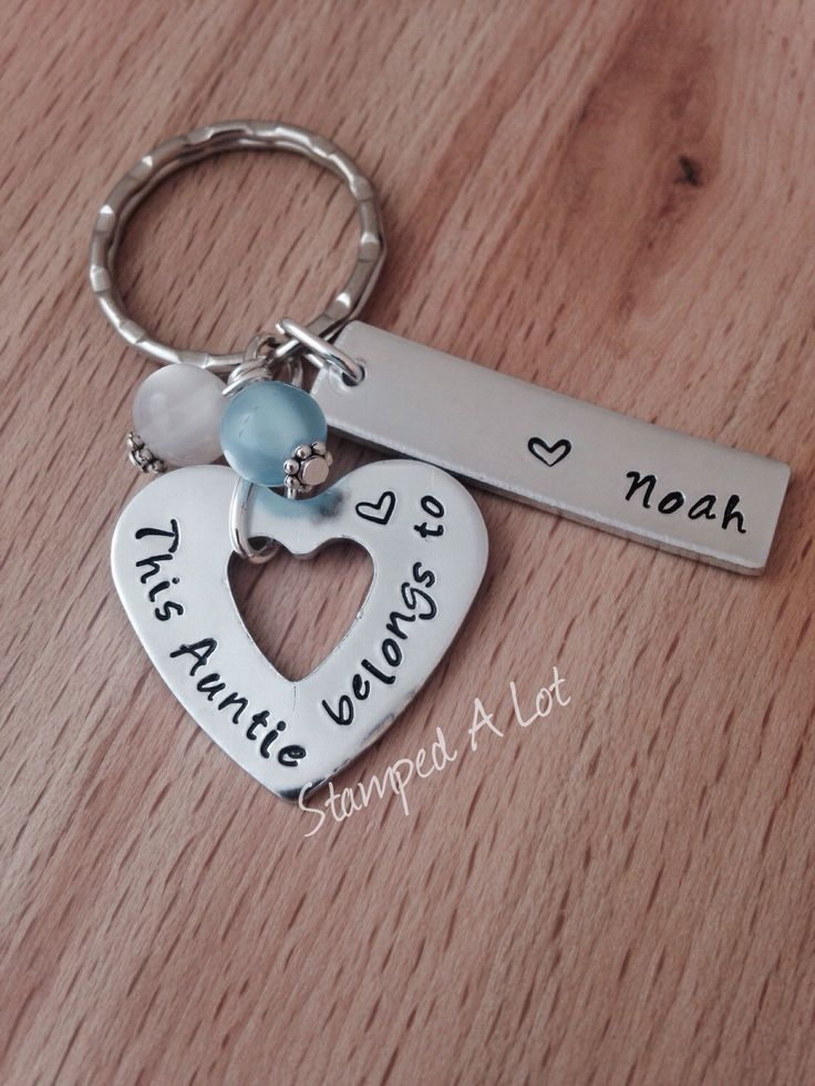 personalised - aunt gift - name keyring - personalised gift - gifts for aunt - personalised keyring - auntie - sister -gift - godmother gift by StampedALot on Etsy https://www.etsy.com/listing/249057828/personalised-aunt-gift-name-keyring
