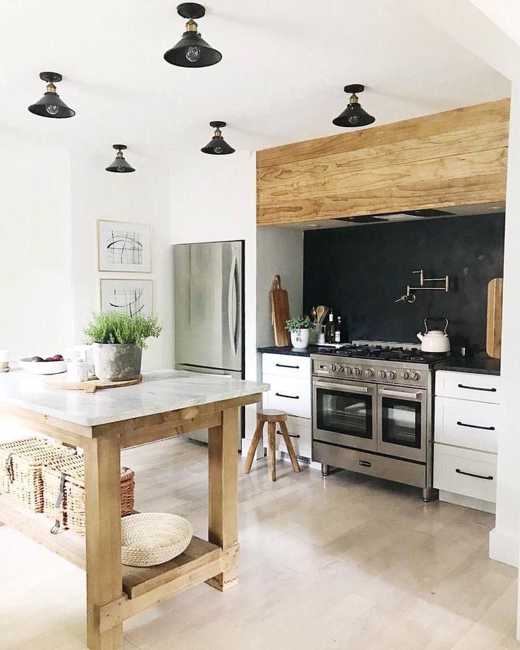 Black, white, reclaimed kitchen