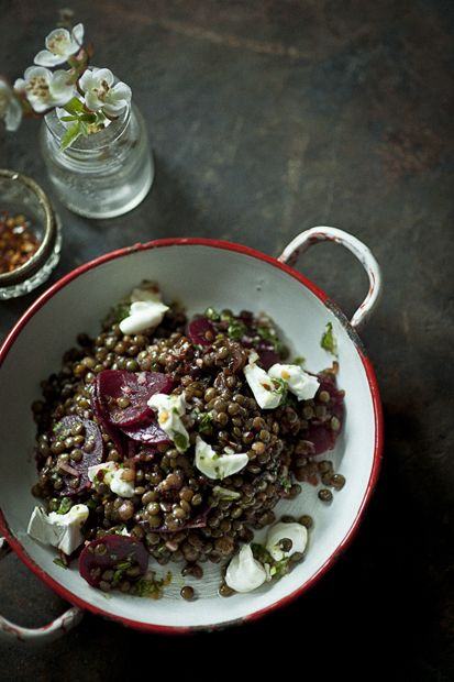 // lentil, beet and goats cheese salad