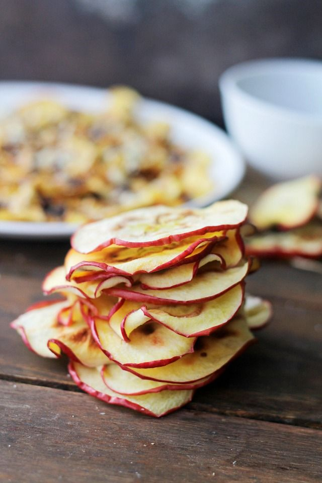 Apple Chips | www.diethood.com | Thin and crispy Apple Chips made in the microwave!