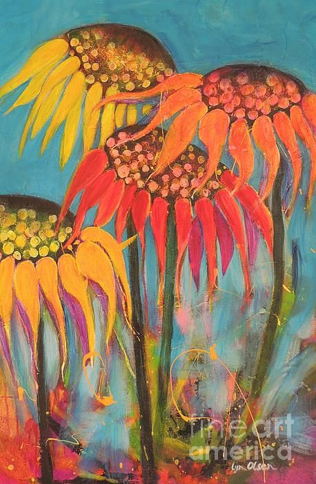 Glowing Sunflowers by Lyn Olsen - Glowing Sunflowers Painting - Glowing Sunflowers Fine Art Prints and Posters for Sale http://lyn-olsen.artistwebsites.com/