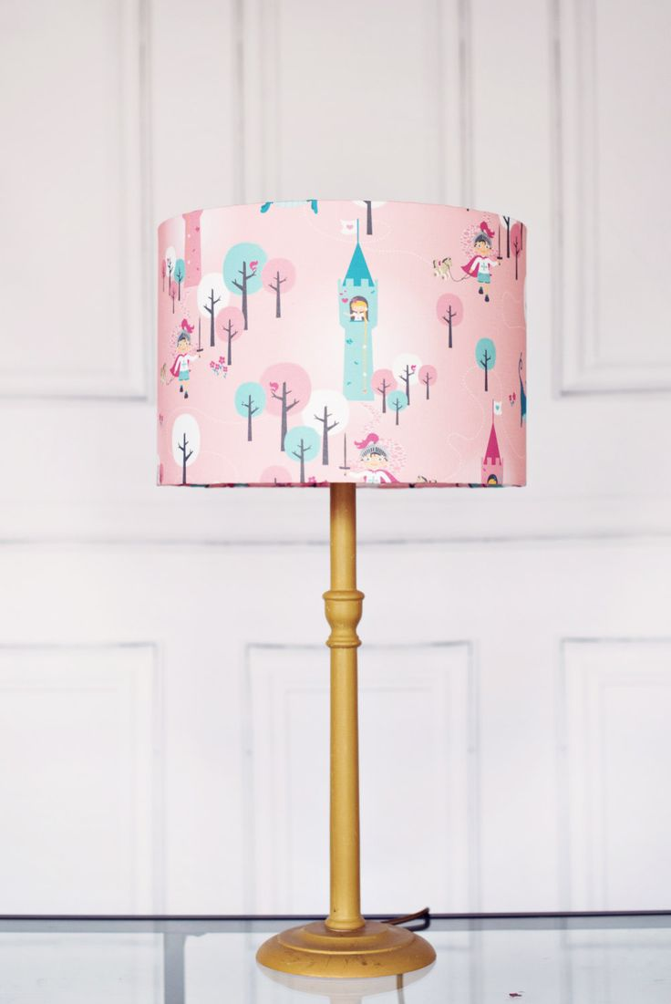 Dragon girl lampshade, pink lamp, childrens lampshade, kids lampshade, nursery lamp shade, girls lamp, childrens lamp, kids lamps, lampshade - pinned by pin4etsy.com