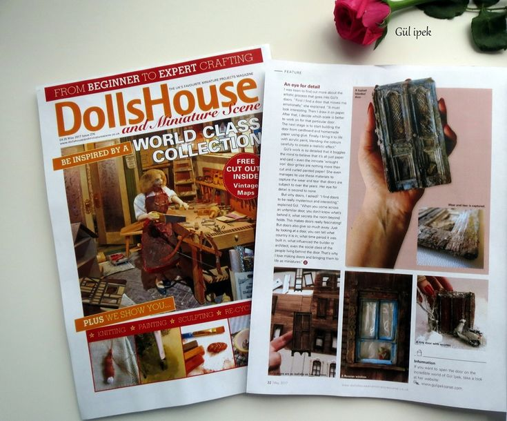 The miniatures of by Gül ipek . ingiliz  ,The UK's best miniatures magazine. Dolls House and Miniature Scene is a quality monthly magazine with an excellent cross section of features and projects. #dollhouse #miniature #doors#collection