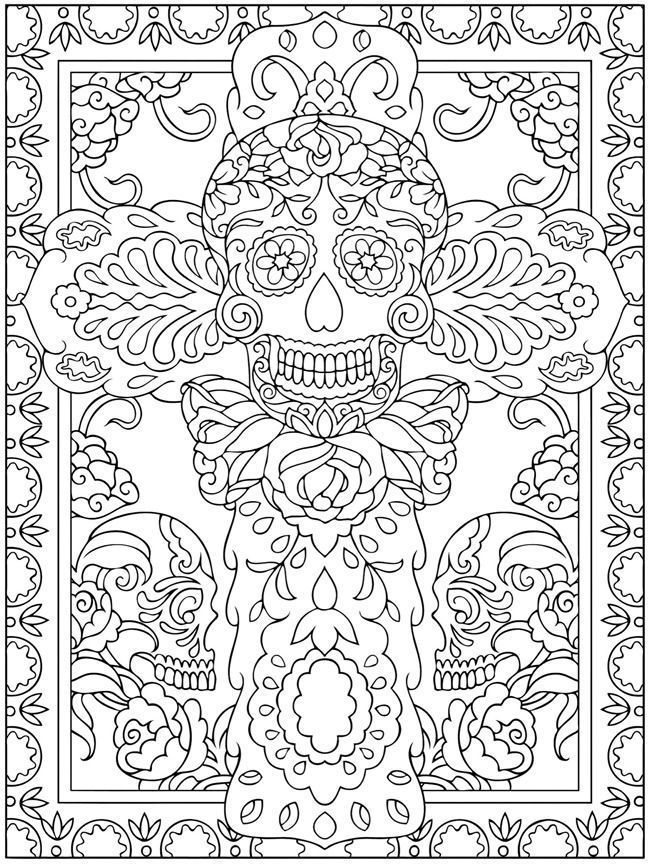 Day Of The Dead Coloring Sheets Dover Publications