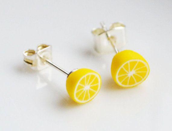 Lemon Stud Earrings, Fimo, Polymer Clay