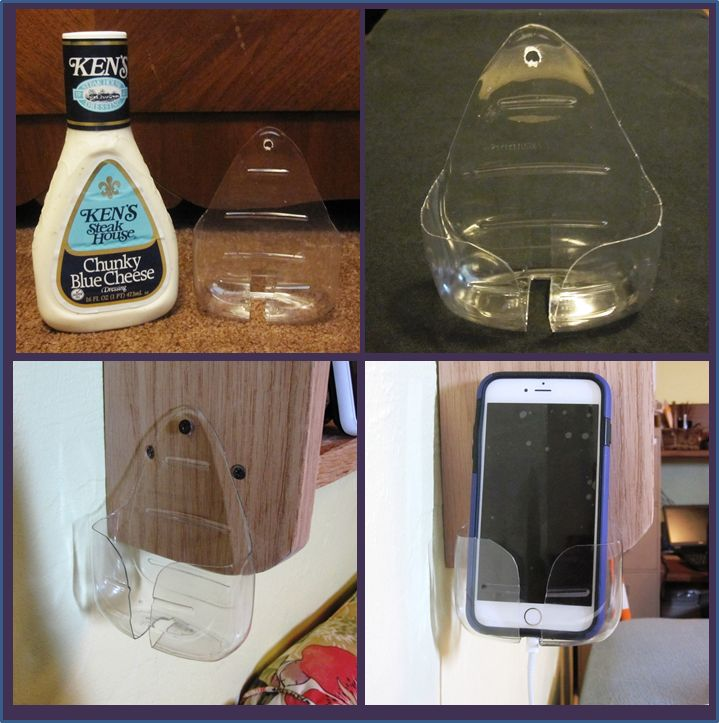 Cellphone Holder/ Charging Station: I wanted to move my cellphone to hang on my bookshelf but couldn't find anything pre-made that met my needs.  Enter the Ken's Steakhouse Salad Dressing Bottle. With a good wash and some careful cuts; it hangs exactly where I want it with the cord access below.  I can also touch it to see the lock screen whenever I want without moving it. Added Bonus: the plastic sleeve amplifies the iPhone built-in speaker sound by a good 25%  #MaestroHack #Upcycle