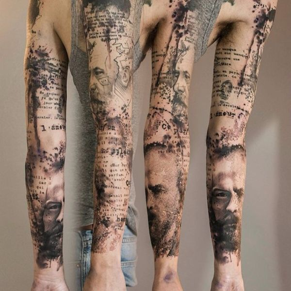 Watercolor style sleeve tattoo. It looks simple, easy but at the same time it is very tricky and hard to do. The beauty of this tattoo design is that it makes use of the skin and tries to show the true skin color with the design rather than using ink for it.