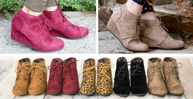 Lace Up Wedge Ankle Boots | Sizes 5-10