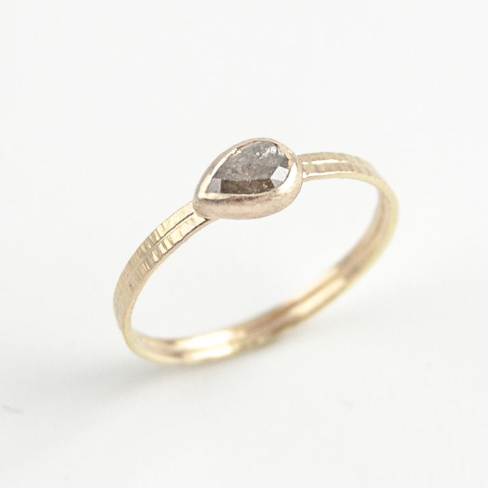 dark gray teardrop diamond ring — EMI GRANNIS