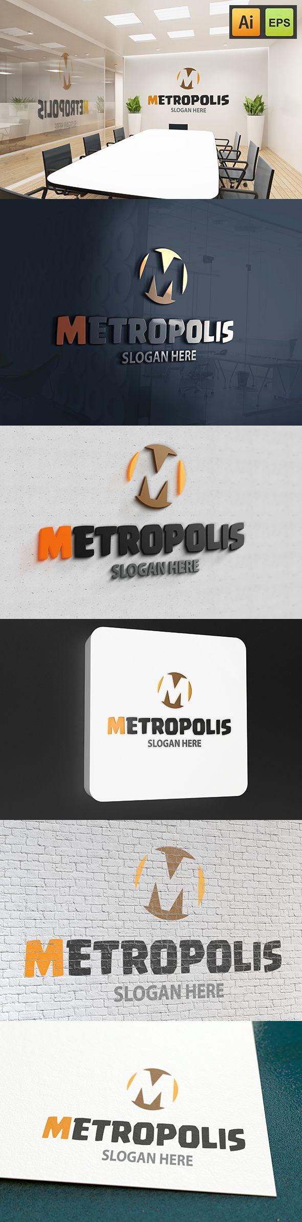 """@Behance projeme göz atın: """"M Letter Logo - Metropolis Logo""""…"""