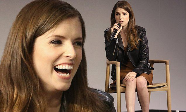 Anna Kendrick shows off her toned legs in brown minidress