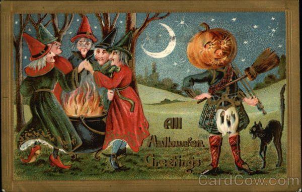 All Halloween Greetings Series 2171 In a moonlit setting, four witches dance about a flaming cauldron, while a kilt-dressed man with a broomstick fiddle and a pumpkin head serenades a black cat