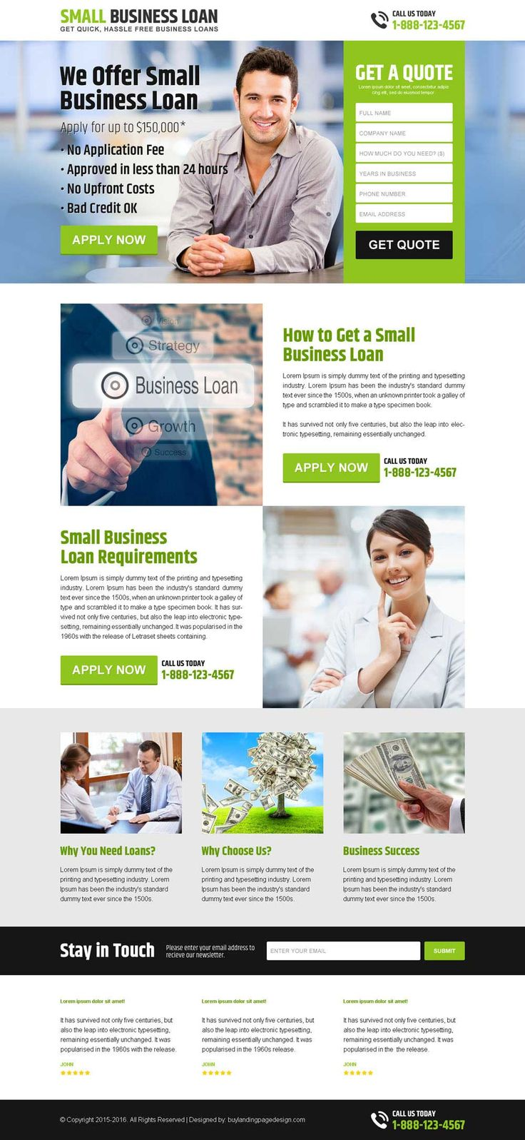 hassle free small business loan responsive landing page