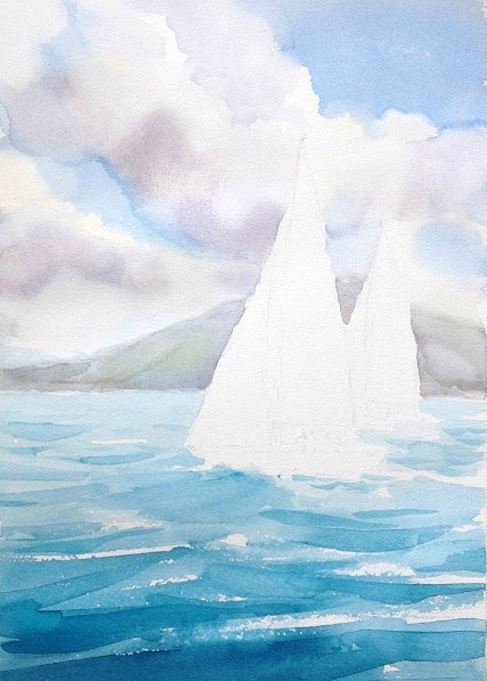 How To Paint The Ocean In Watercolor The Art 123 Seascape