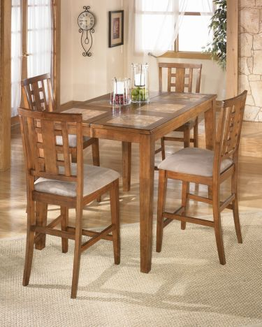 5 Pc Tucker Square/Rectangular Counter Height Leg Table Dining Room Set  Dining Set