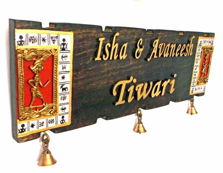 Handcrafted Warli & Dhokra Art Woode Name Plate