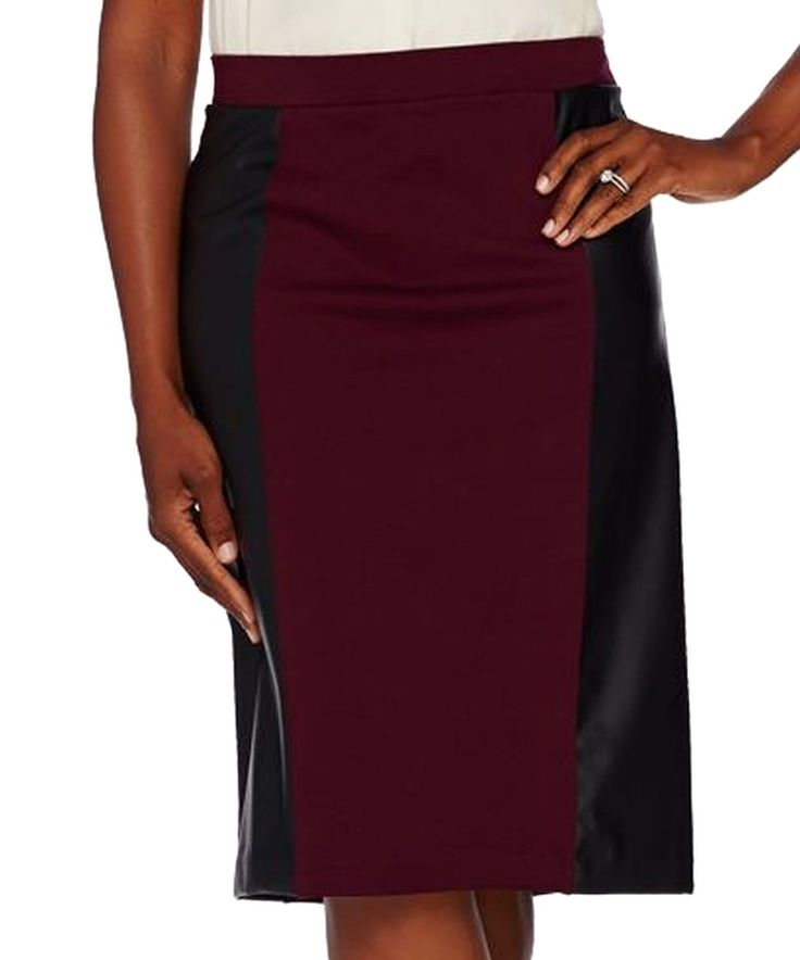 This Susan Graver Wine & Black Ponte Faux Leather Comfort Waist Skirt - Plus Too by Susan Graver is perfect! #zulilyfinds