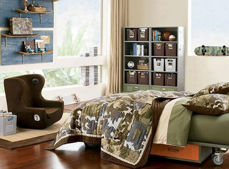 18 Cool And Trendy Teen Boys Bedroom Designs : Stylish Beige Teen Boys  Bedroom Design With Brown Easy Chair And Wheeled Platform Bed Also  Skateboard Shape ...