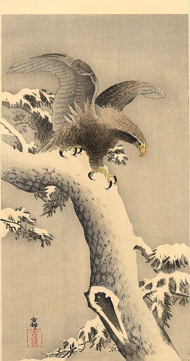 """Eagle under snow"" by Ohara Koson"