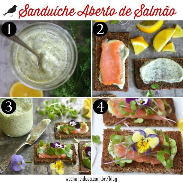 receita salmão, dica comidinhas, entrada com salmão, pães e patês, sanduíche aberto de salmão