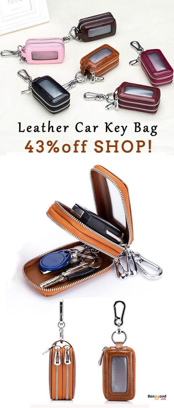 Unisex PU Leather Car Key Chain Pocket Wallet Holder Storage Bag Case Cover Hold