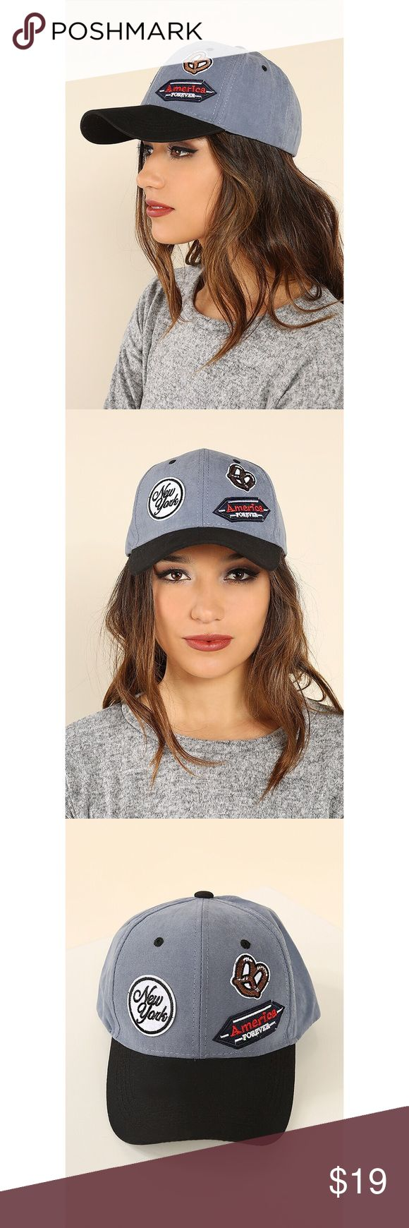 """Patch Cap w/American Style in Blue and Black - New Ultra cute cap by the brand Monkey Tail! This cap features a soft grey-blue base, black front end visor, and black velcro adjustable strap in the back. The cap features patchwork that reads """"New York"""", """"America Forever"""" and a classic NY pretzel. Wild Eclectic Accessories Hats"""