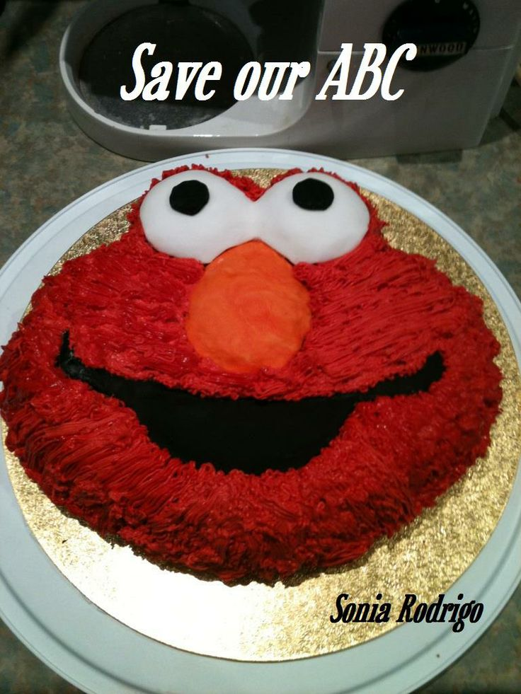 """Elmo Cake by Sonia In Australia we are losing funding to our independent television channel The ABC. I am starting a collection of photos from our local  Cake Decor in Cairns home baking mums and dads to support the facebook page (not run by me) """"Australians Baking Cakes for the ABC.  http://www.cakedecorcairns.com/2014/06/australians-baking-cakes-for-abc.html"""