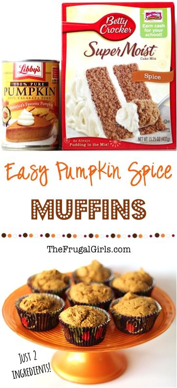 Pumpkin Spice Muffins Recipe!  2 Ingredient Pumpkin Muffins are SO easy, and oh so delicious!  The easiest treat you'll ever make!