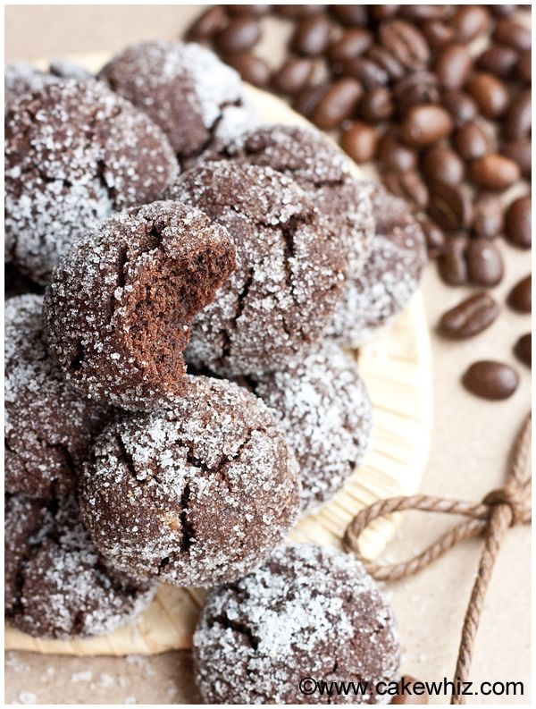 Mocha Crinkle Cookies - Crispy, Sugary Tops with Tender Chocolate-Mocha Centers - Variantions included  -  Cakewhiz