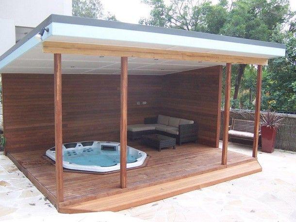 175 best hot tub stuff images on pinterest whirlpool for Garden decking with gazebo